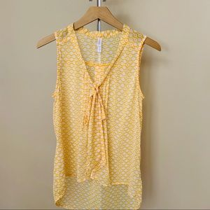Xhiliration yellow tank top tie front Medium